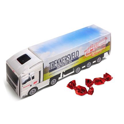 Gepersonaliseerde gevulde vrachtwagen als relatiegeschenk