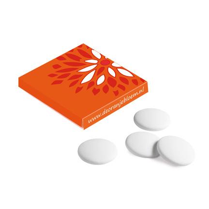 Vierkant doosje met 4 pepermunt imperiales full colour bedrukt met uw logo