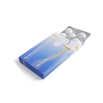 Bedrukt medicijndoosje met blister pepermunt als weggevertje