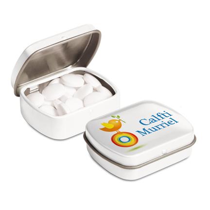 bedrukt klein scharnierblikje met pepermunt snel leverbaar als give-away