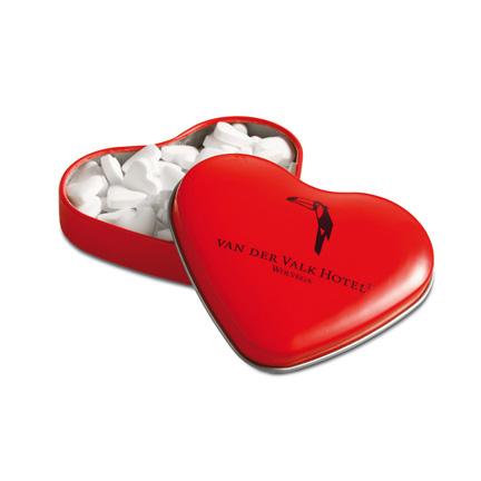 Bedrukt rood hartenblikje met hartjes pepermunt als give-away