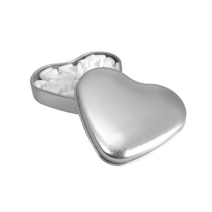 Gevuld hartenblikje zilver bedrukt met uw bedrijfslogo
