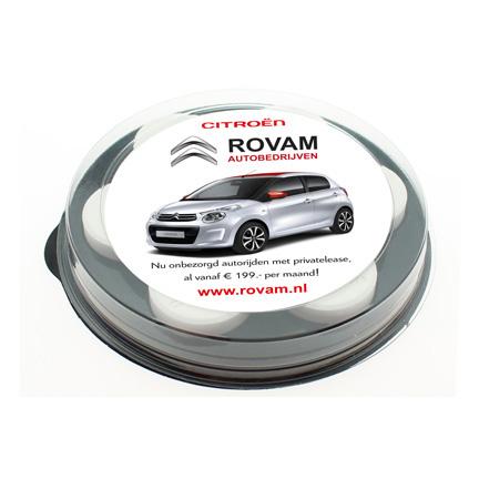 Bedrukt pepermuntschijfje voor Citroën garage Rovam