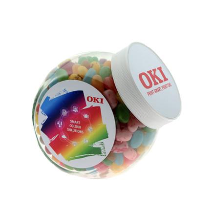 Full colour bedrukte snoeppot van glas als relatiegeschenk