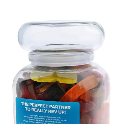 Bedrukte vierkante snoeppot als weggevertje voor uw klanten