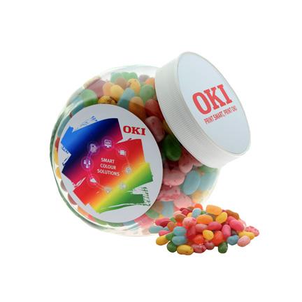 Schuine glazen snoeppot gevuld met zalige Jelly Beans als bedankje