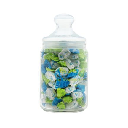 Klassiek ogende glazen snoeppot, bedrukt met uw bedrijfsnaam of logo