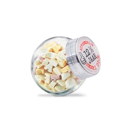 Lief glazen snoeppotje bedrukt met uw bedrijfsnaam of logo