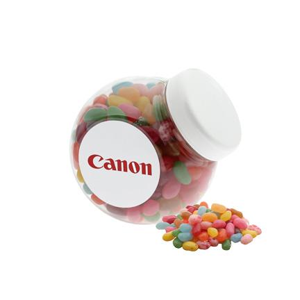 Schuinstaande kunststof snoeppot met Jelly Beans voor Canon