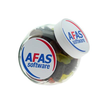 Met winegums hervulbare glazen snoeppot voor Afas Software