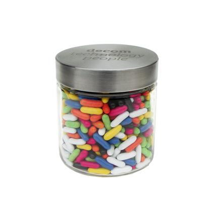 Stevige glazen snoeppot met RVS deksel, een relatiegeschenk met een stoere uitstraling