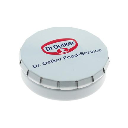 Bedrukt clic-clac pepermuntblikje voor Dr. Oetker