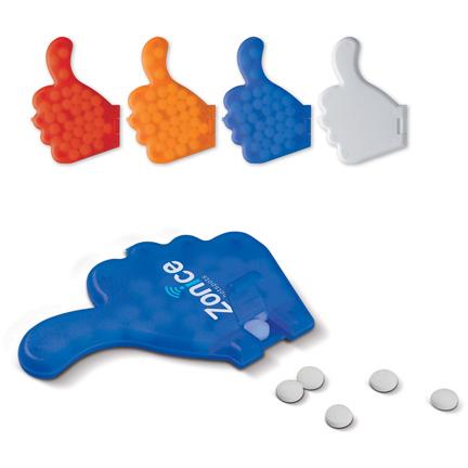 Thumbs up - pepermuntkaart duim met bedrijfslogo