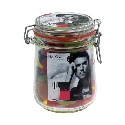 Bedrukte glazen snoeppot met winegums voor Van Gils