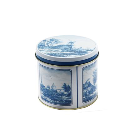 Stroopwafelblikje met Delfts blauw wikkel gevuld met verse stroopwafels als give-away