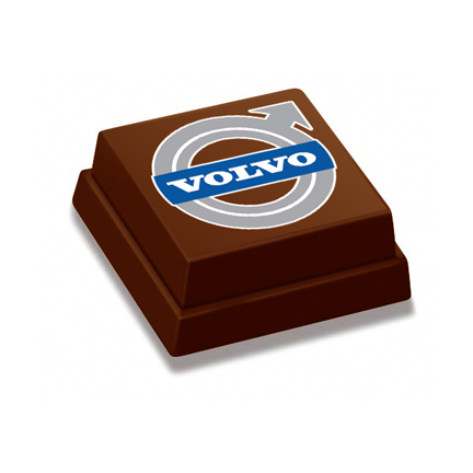 Logobonbon als smaakvolle attentie voor klanten van Volvo