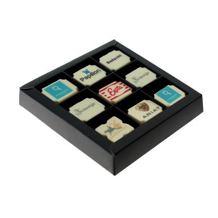 Logobonbons 9 stuks per doos als relatiegeschenk