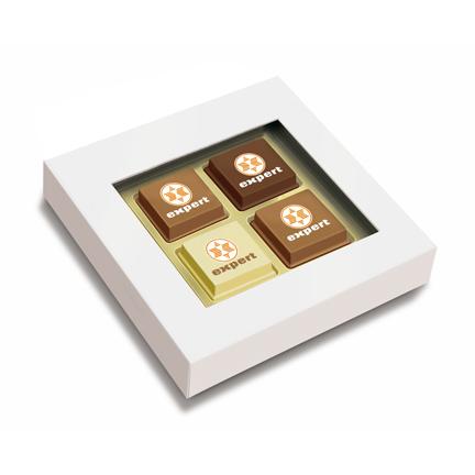 Logobonbons in doosje met 4 stuks als relatiegeschenkje