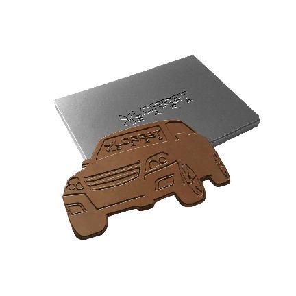 Embossed chocolade in eigen vorm als origineel weggevertje