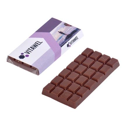 Zalig chocoladereepje in bedrukte wikkel met bedrijfsontwerp als give-away