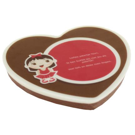 Chocoladehart bedrukt met uw bedrijfsontwerp als liefdevol relatiegeschenk
