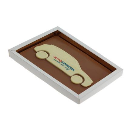 Chocoladetablet met auto bedrukt met uw bedrijfslogo als give-away