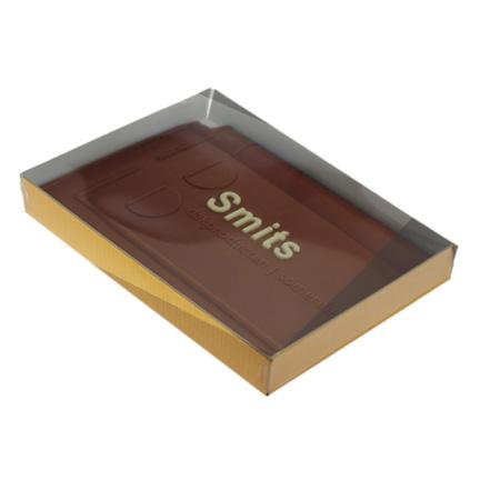 Bedrukte dakpan chocoladeplak met bedrijfslogo als give-away