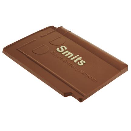 Chocolade dakpan met logo als relatiegeschenk