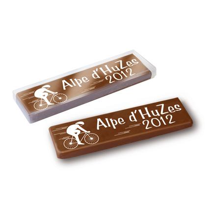 Gepersonaliseerde chocoladereep met bedrijfslogo voor Alpe d'HuZes