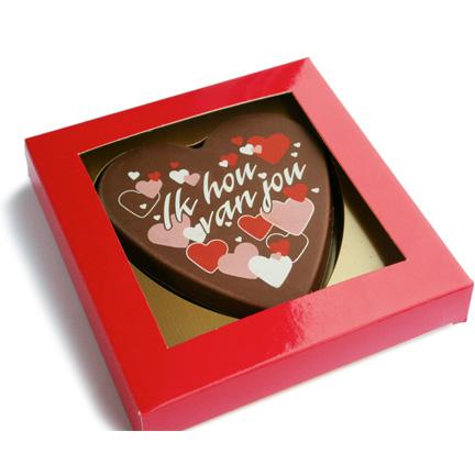 Gepersonaliseerd chocoladehart als liefdevolle give-away