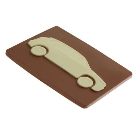 Chocoladetablet met auto als relatiegeschenk voor autobedrijf of garage