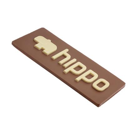 Gepersonaliseerde chocoladeplak met bedrijfsontwerp als opvallend relatiegeschenk