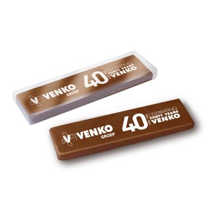 Bedrukte chocoladereep met bedrijfslogo als give-away