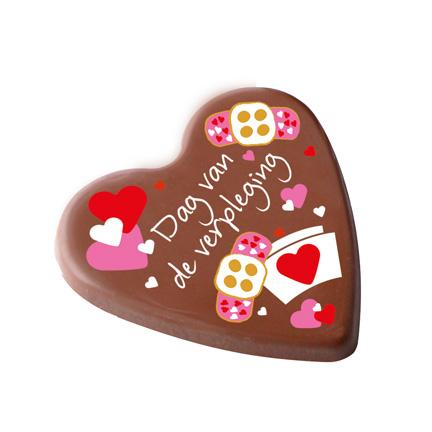 Chocoladehart met full colour bedrukking als relatiegeschenk