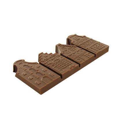 Chocolade gevelstraatje met bedrukt logokaartje als weggevertje
