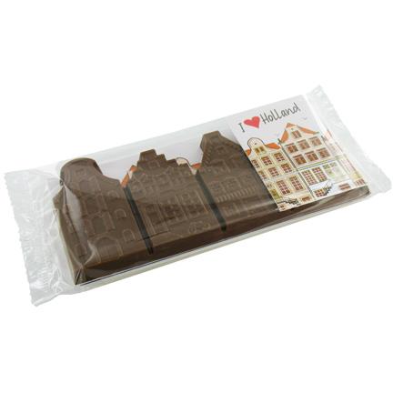 Chocolade gevelstraatje met gepersonaliseerd kaartjes als give-away aan uw klanten