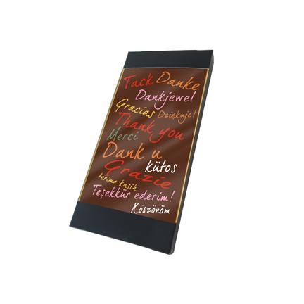 Gepersonaliseerde chocolade minikaart als weggevertje aan uw klanten