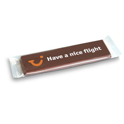 Chocoladereep gepersonaliseerd met bedrijfslogo als weggevertje