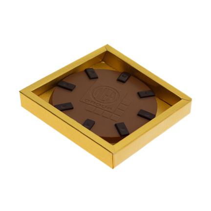 Maatwerk ronde chocoladetablet met bedrijfslogo als origineel relatiegeschenk