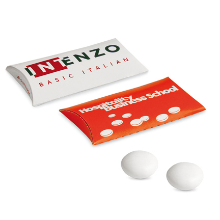 Bedrukt klikhulsje met 2 Mentos mints als give-away