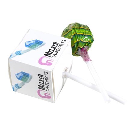 Chupa chups lolly in bedrukt doosje als give-away tijdens een evenement