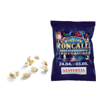 Bedrukt zakje popcorn als zoet weggevertje