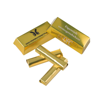 Chocolade goudstaafjes bedrukt met uw bedrijfslogo als smaakvolle give-away