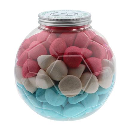 Bedrukte voetbalpot met snoep als sportief bedankje voor uw klanten