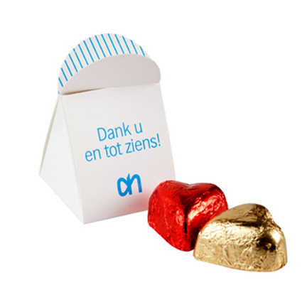 Hartvormige bonbon in bedrukte ballotin als smaakvol bedankje