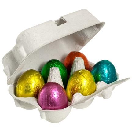 Chocolade paaseitjes in doosje met bedrukte wikkel voor de Pasen als give-away