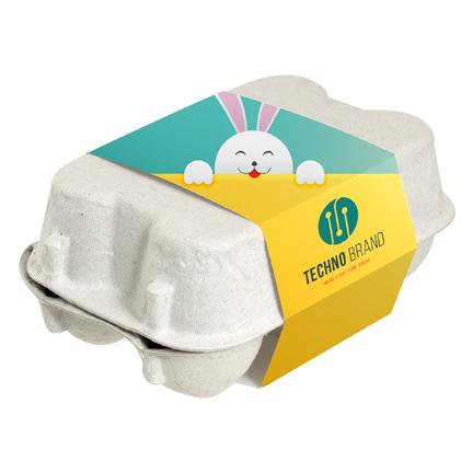 Gepersonaliseerd doosje chocolade paaseitjes met bedrukte wikkel voor de Pasen als weggevertje