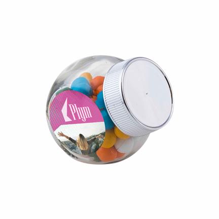 Snoeppotje met logo als bedankje voor klanten