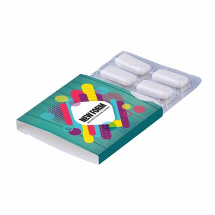 Bedrukte kauwgomblister met logo om weg te geven aan klanten