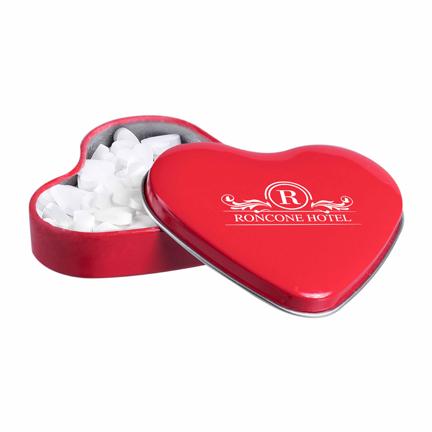 Pepermuntblikje hart met logo als weggevertje voor Valentijn